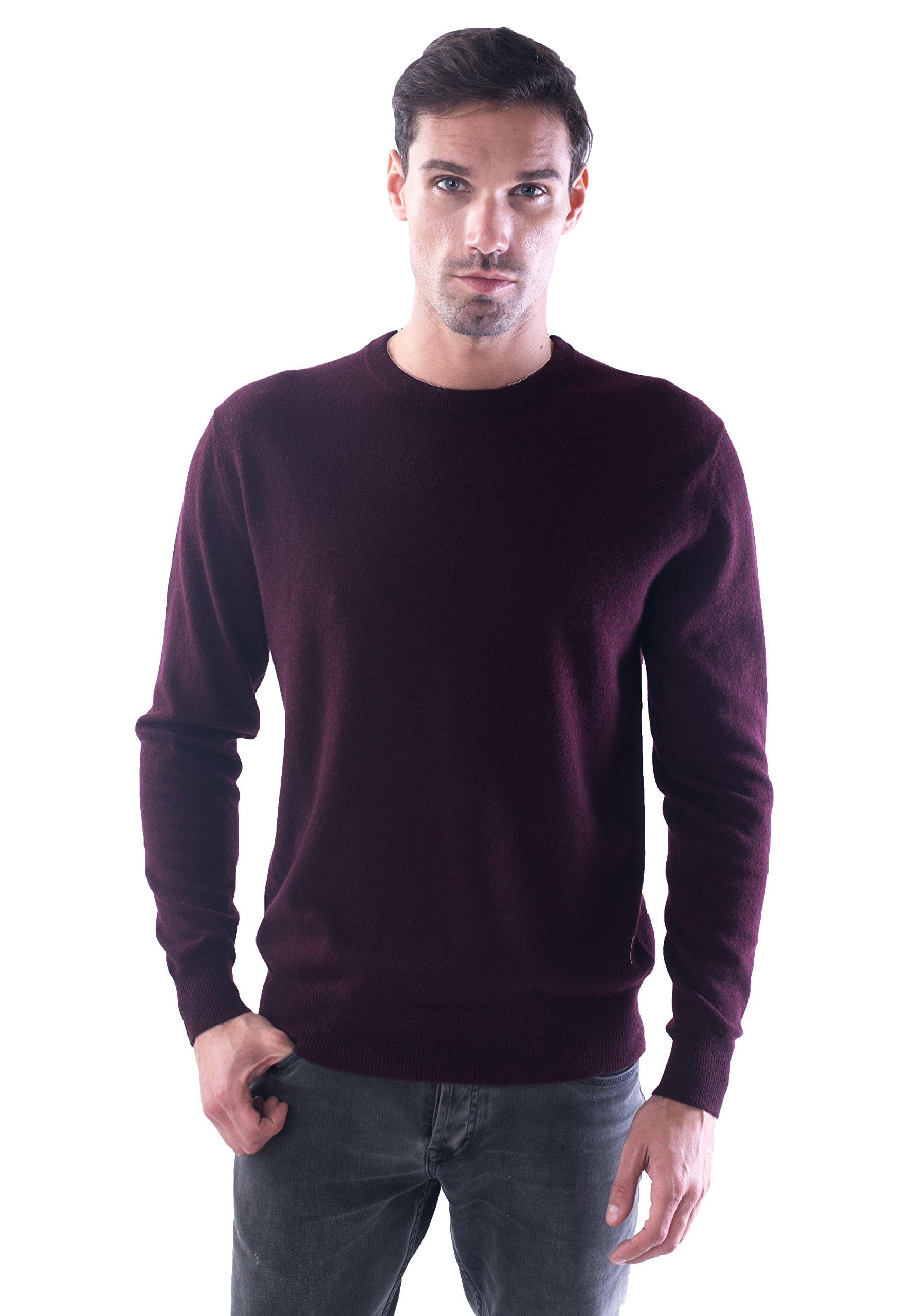 LEBAC Men's 100% Cashmere Round Neck Sweater