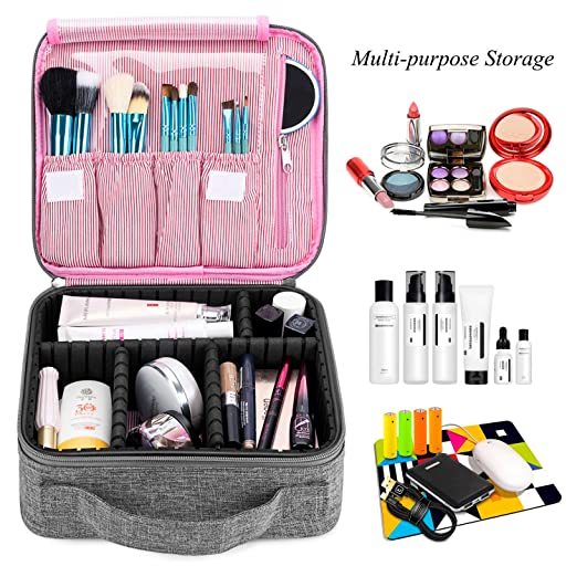 Amazon.com : Makeup Bag Travel Cosmetic Bag for Women Nylon Cute Makeup Case Large Professional Cosmetic Train Case Organizer with Adjustable Dividers for ...