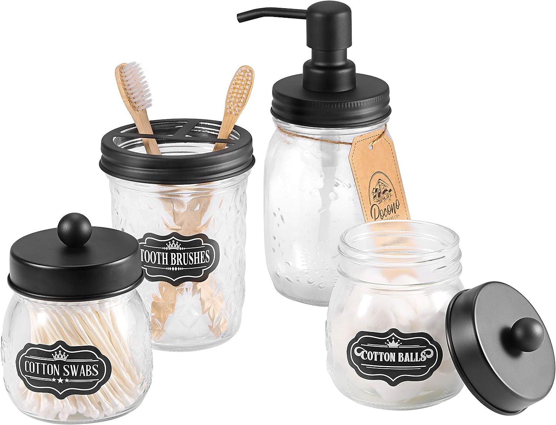 Premium Mason Jar Bathroom Accessories Set 4pc - Mason Jar Soap Dispenser, 2 Apothecary Jars (Qtip Holder), Toothbrush Holder - Rustic Farmhouse Decor - Bathroom Vanity Organizer, Stainless Steel Lids