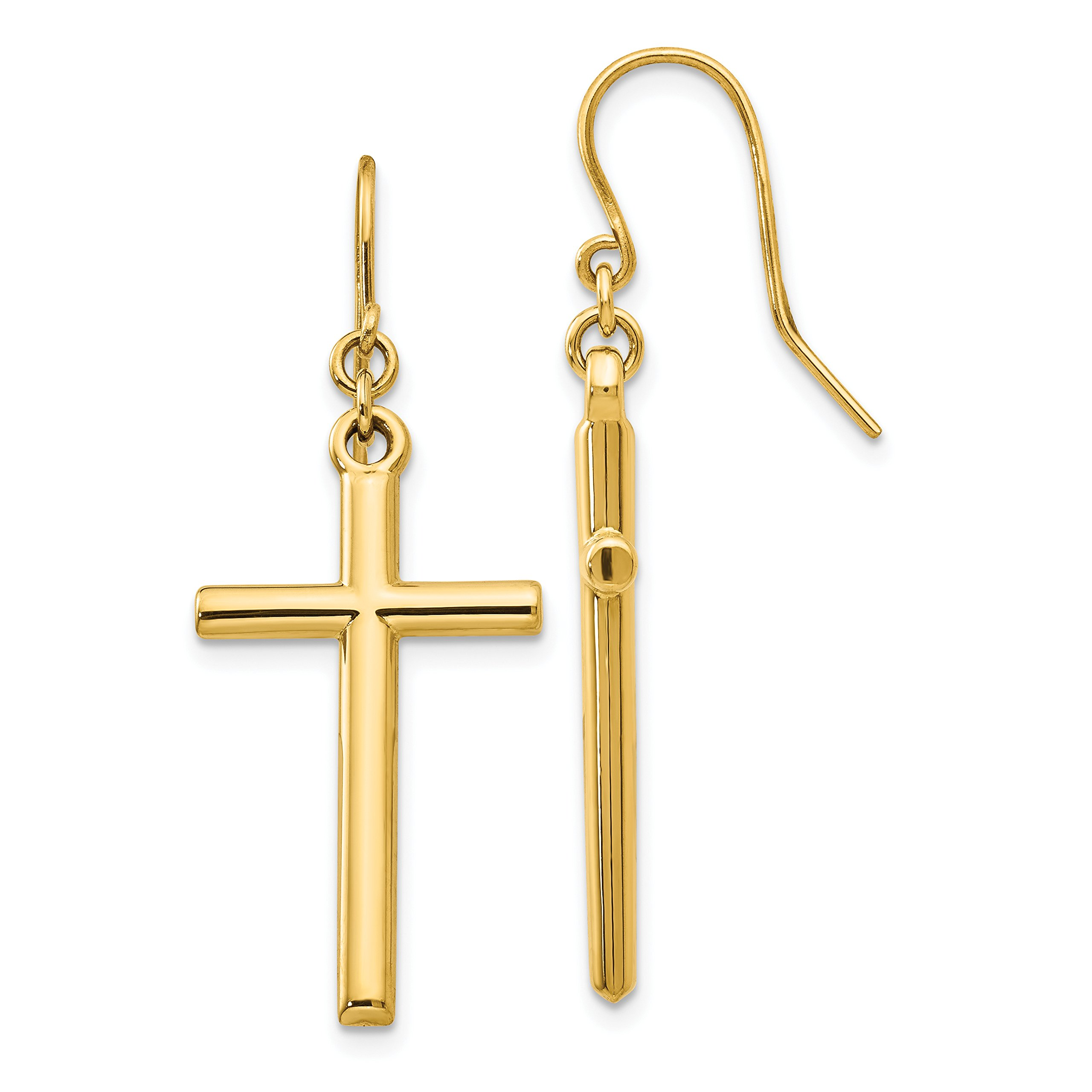 ICE CARATS 14k Yellow Gold Cross Religious Shepherd Hook Drop Dangle Chandelier Earrings Fine Jewelry Gift Set For Women Heart