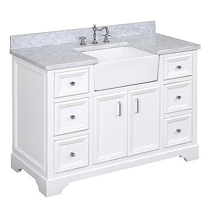 Zelda 48 Inch Bathroom Vanity Carrara White Includes A