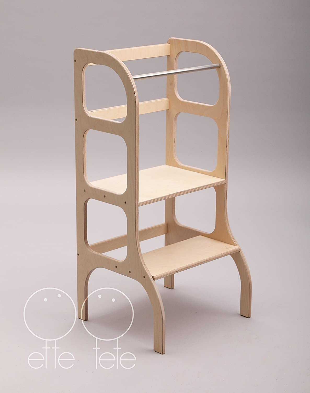 Little helper tower, toddler kitchen step stool, Montessori learning stool, WOODEN