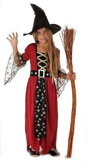 Magicoo Bruja traje para niña niños Halloween rojo, negro y dorado - traje de disfraces niño niñas vestido y sombrero 9-11 años (134/140): Amazon.es: Ropa y accesorios