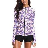 Caracilia Women's Fashion Printing Rashguard Long Sleeve Zip UV Protection Surfing 2 Piece Tankini Swimsuit Swimwear Set