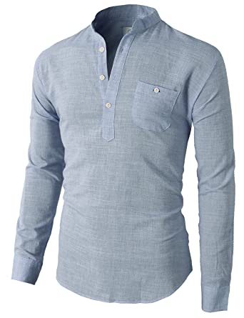 9104acca05da H2H Mens Casual Henley Button-Down Slim Fit Roll-up Sleeve Shirt with Pocket