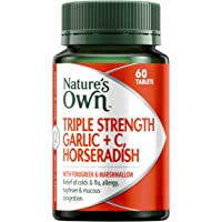 Nature's Own Triple Strength Garlic + C, Horseradish - Reduces Severity of Colds - Supports Respiratory Health, 60 Tablets