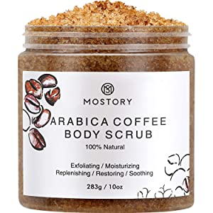 Arabica Coffee Exfoliating Body Scrub - Organic Cellulite Exfoliator Dead Sea Salt Anti-Acne Wrinkles Vitamin E Vitamin C Coconut Oil Natural Scrubing Moisturizing Scrubs For Women Men 10 oz