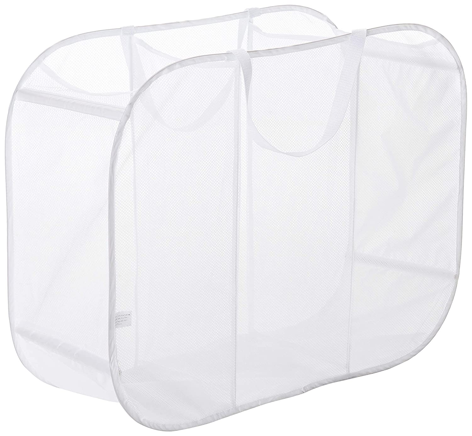 Honey-Can-Do Mesh Triple Sorter Laundry Basket, 30 Length x 11 Width x 24 Height, White HMP-04119
