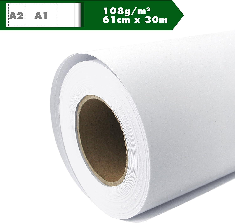 Rollo de papel para plóter Mate 108 g/m², 61 cm x 30 m A1 A2 ...