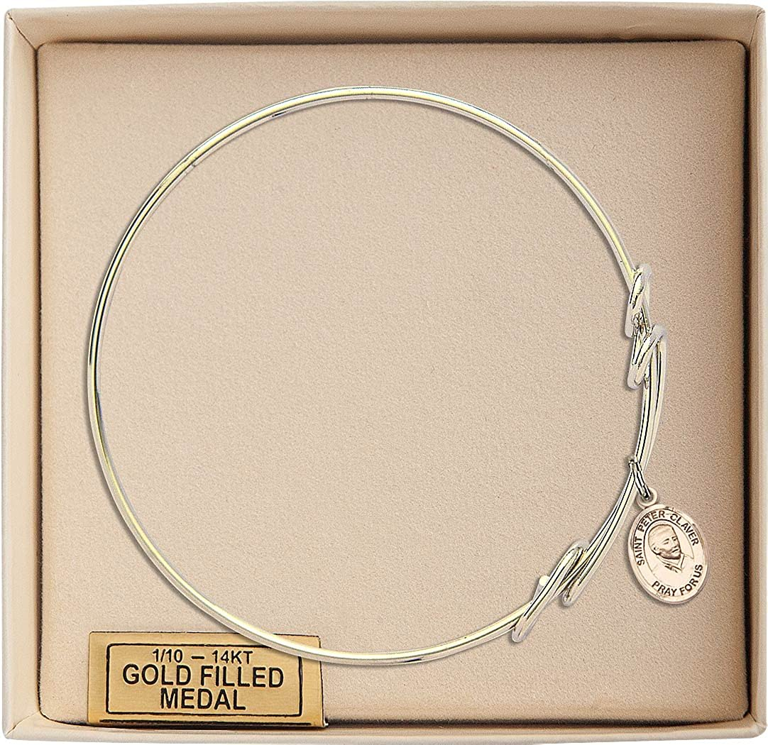 Bonyak Jewelry Round Double Loop Bangle Bracelet w//St Peter Claver in Gold-Filled