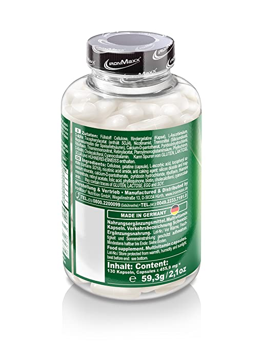 ironmaxx multivitamin kapseln hochdosierte multivitamin kapsel deckt 100 des tagesbedarfs 1 x 130 kapseln amazon de drogerie korperpflege