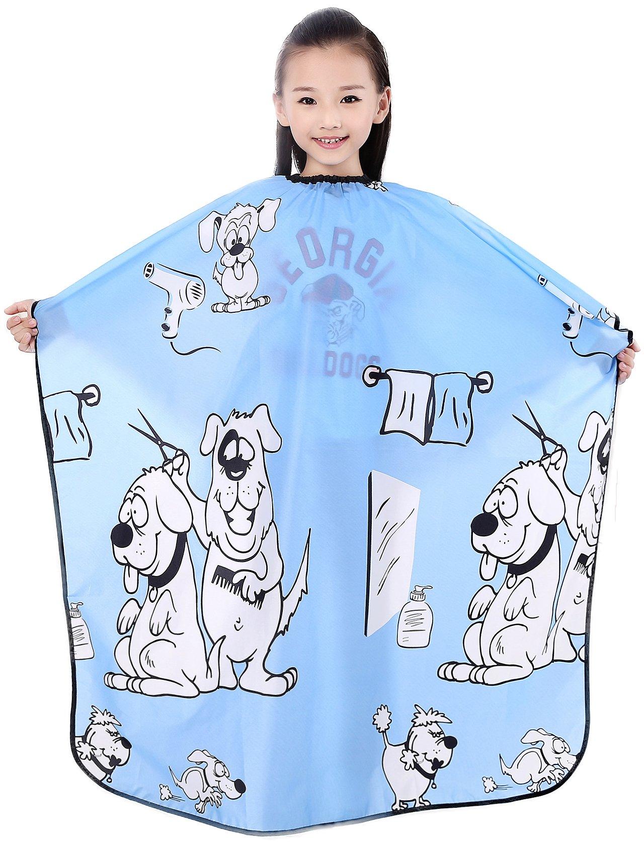 Kids Haircut Salon Cape, Hair Cutting Cape For Kid cloth, Child Shampoo Waterproof Capes 52''X 37'' (Blue)