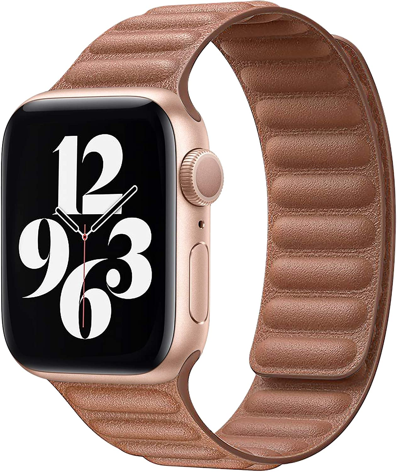Ruiboo Leather Link Band Compatible with Apple Watch Band 38mm 40mm 42mm 44mm iWatch Series 6 5 SE 4 3 2 1 Strap, Latest Magnetic Closures Stainless Steel Flexible Molded Adjustable Wrist Replacement