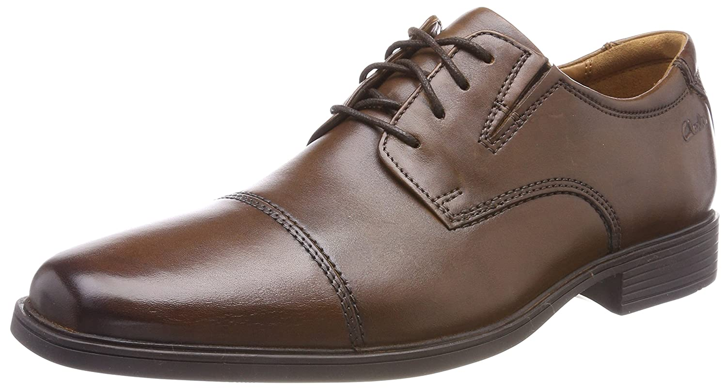 4dd1addd81b14 CLARKS Tilden Cap Mens Wide Lace-Up Derby Shoes 6 UK 7 D(M) US Dark Tan  leather