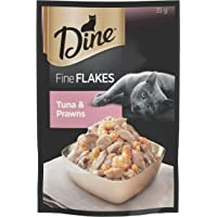 DINE Fine Flakes Tuna and Prawns Wet Cat Food 35g x 12 Pack