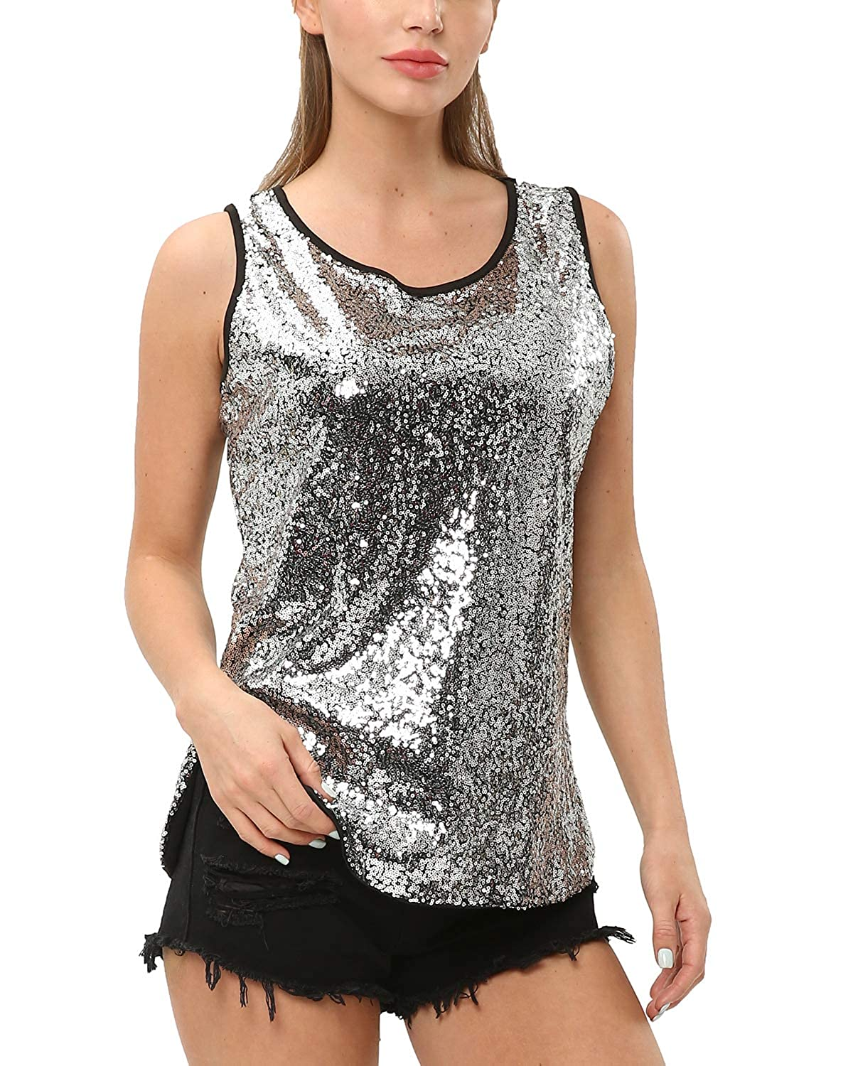 KENANCY Womens Sleeveless Sparkle Shimmer Camisole Vest Sequin Tank Tops