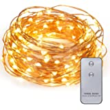 Kohree 120 LEDs Battery Operated String Light 20ft Copper Wire, Waterproof Design Decor Rope Lights for Festival, Christmas, Wedding, Holiday and Party with Remote Control, Warm White