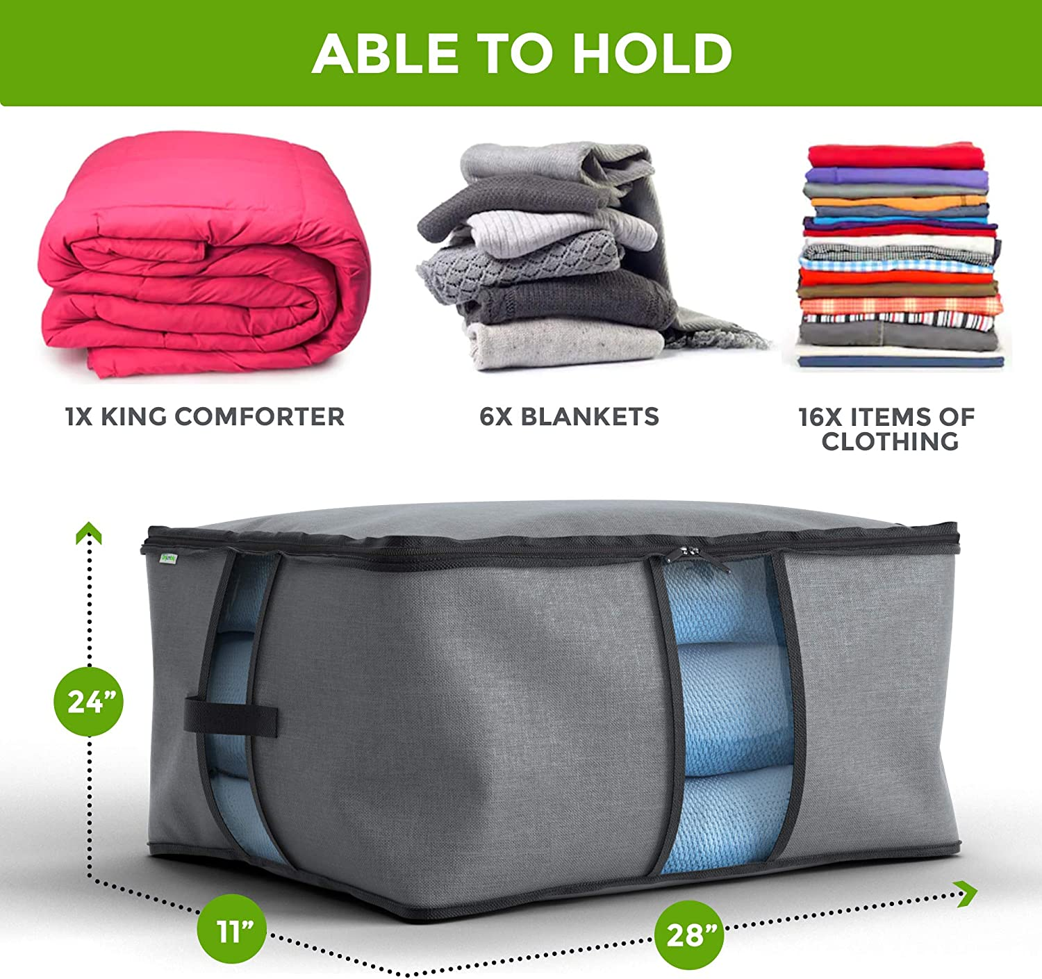 Unjumbly Storage Bag for Comforters and Blankets Bedding and Comforters with a Strong Durable Zipper and Clear Windows Gray Underbed Storage Under Bed Storage to Safely Store and Protect Clothes