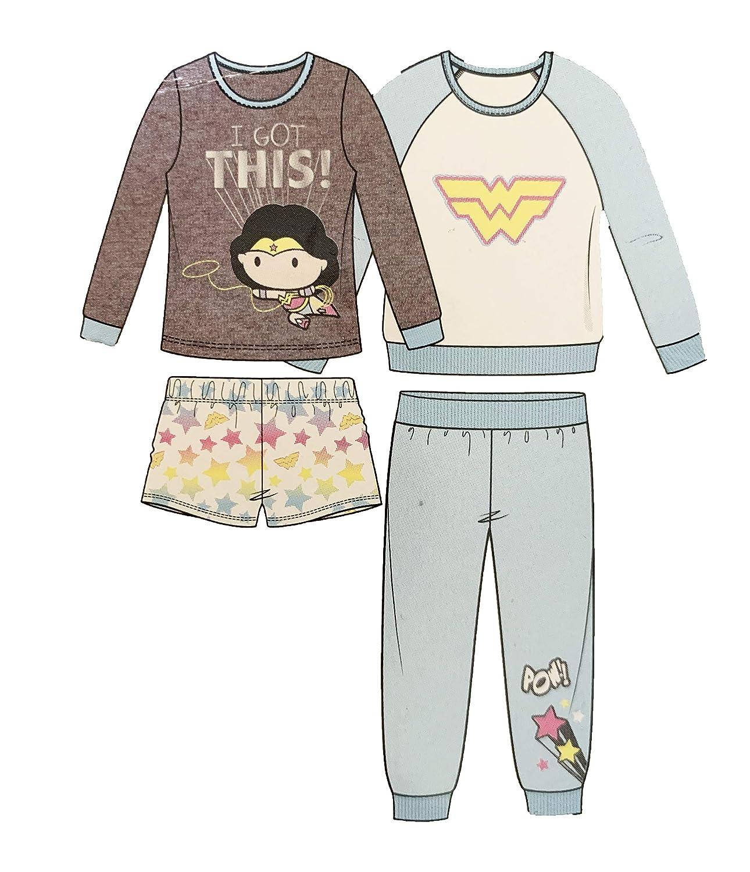 4T Komar Kids Girls Justice League 4-Piece Sleepwear Set Multicolored