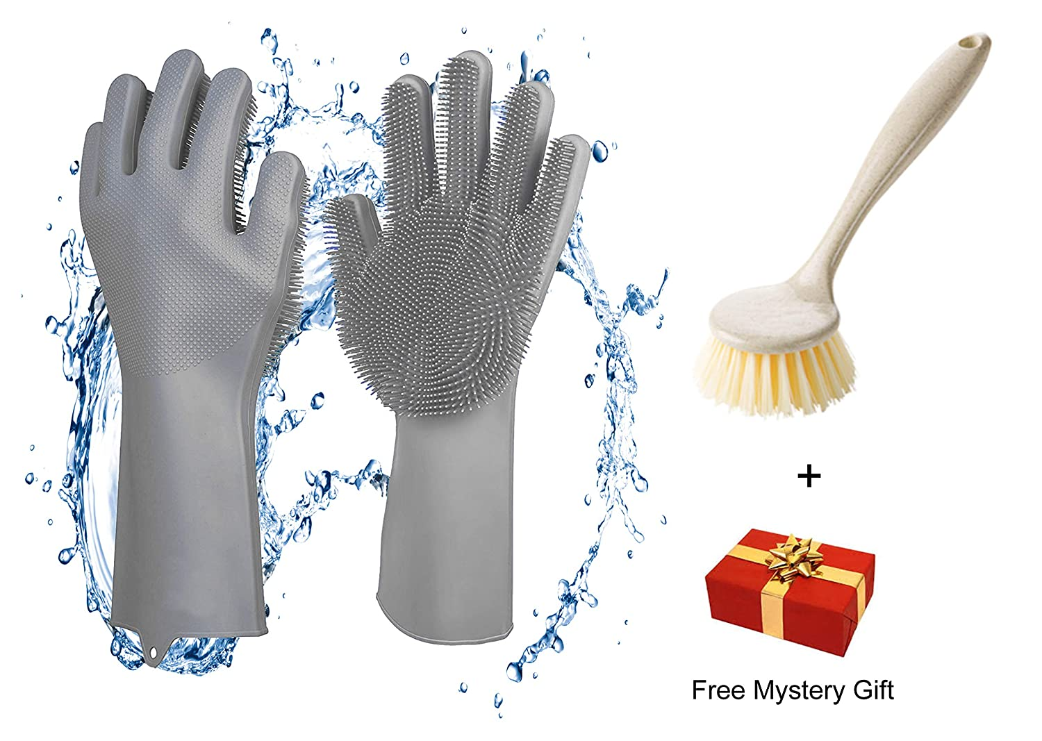 AmazinWads Magic Saksak Silicone Gloves with Wash Scrubber and Washing Dish Brush for Tough Baked-On Food and Bonus Mystery Gift, Reusable Dishwashing Gloves for Cleaning Dishes, Cars, and Baths