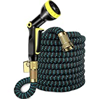 """UMANOR Garden Hose,50ft Flexible Water Hose with 9 Spray Pattern Nozzle, Light Weight with No Links, 3/4"""" Solid Brass Fittings, Carrying Bag, Bundling Belt Included (Updated)"""