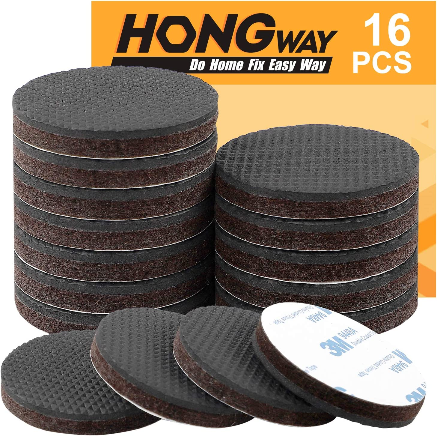 HongWay 16pcs Non Slip Felt Furniture Pads 2 Inch Round for Protecting Floor, Self-Adhesive Anti Slip Felt Rubber Pads, Hard Floor Protector Furniture Stopper for Fixation in Place Furniture