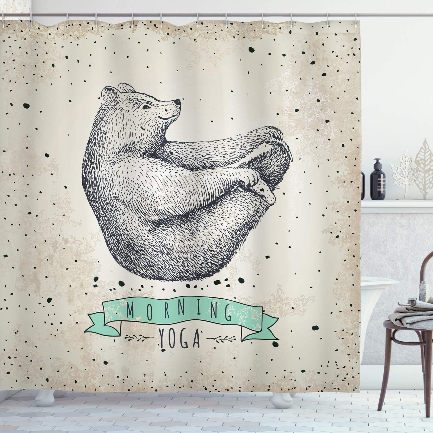 "Ambesonne Yoga Shower Curtain, Contemporary Illustration of Meditating Bear on Vintage Background Calm Life, Cloth Fabric Bathroom Decor Set with Hooks, 70"" Long, Dust Mint"