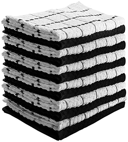 kitchen towels 12 pack 15x25 inch pure cotton machine washable 6 black and
