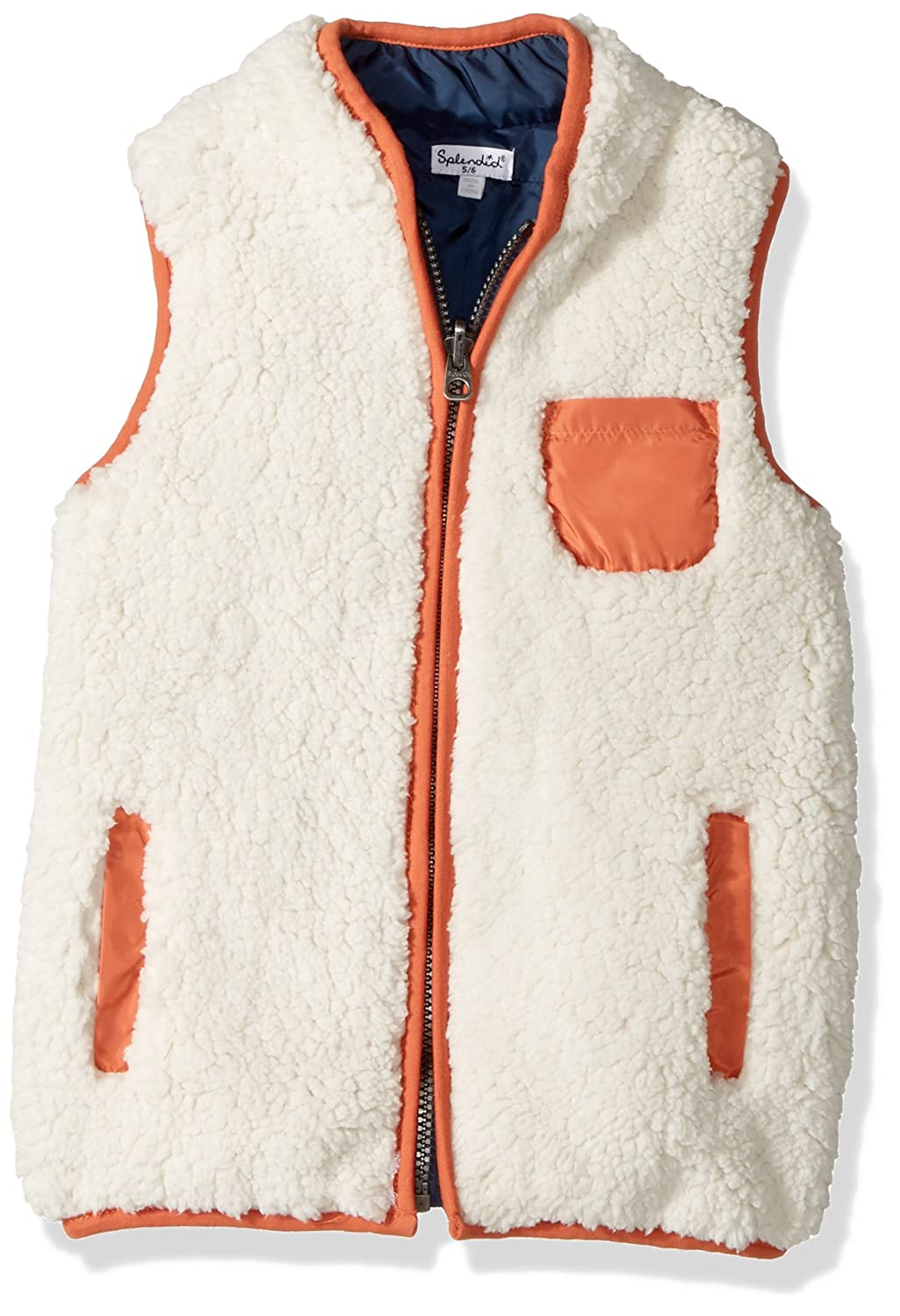 Splendid Boys' Reversible Sherpa Vest Off White 4/5 DBE03835V