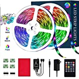 LED Strip Lights, PATIOPTION 32.8ft/10M 3528 SMD RGB Rope Lights Kits Music Sync Color Changing Rope Lights 600 SMD, IR…