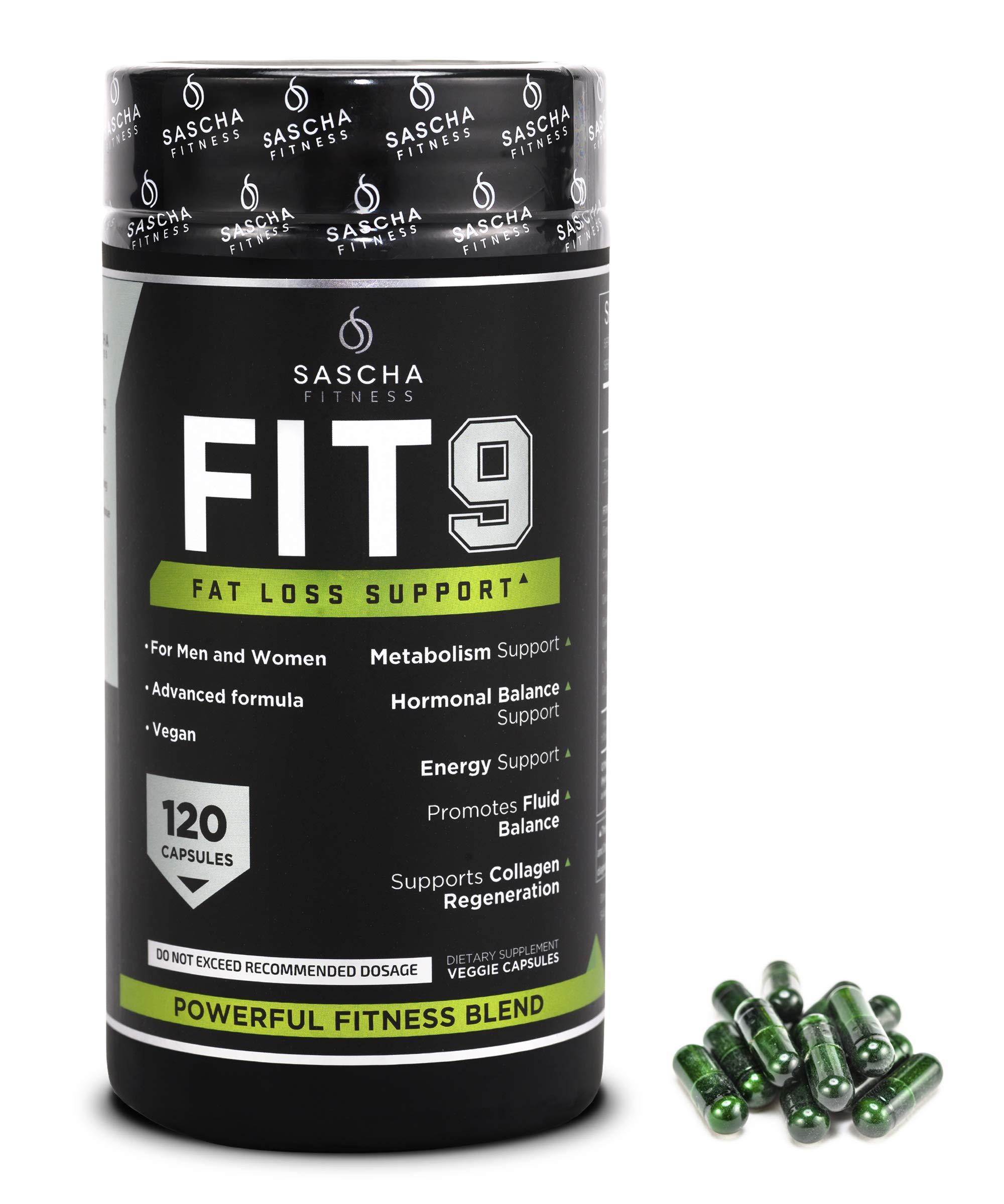 Sascha Fitness Fat Loss pills | Collagen support | Fluid Balance | FIT9 Ingredients: 7Keto + Uva Ursi, Gotu Kola, L-Theanine,Gingko Biloba,DIM,Green Tea | Weight Loss Supplements-Vegan-120 Natural Cap by SASCHA FITNESS (Image #2)