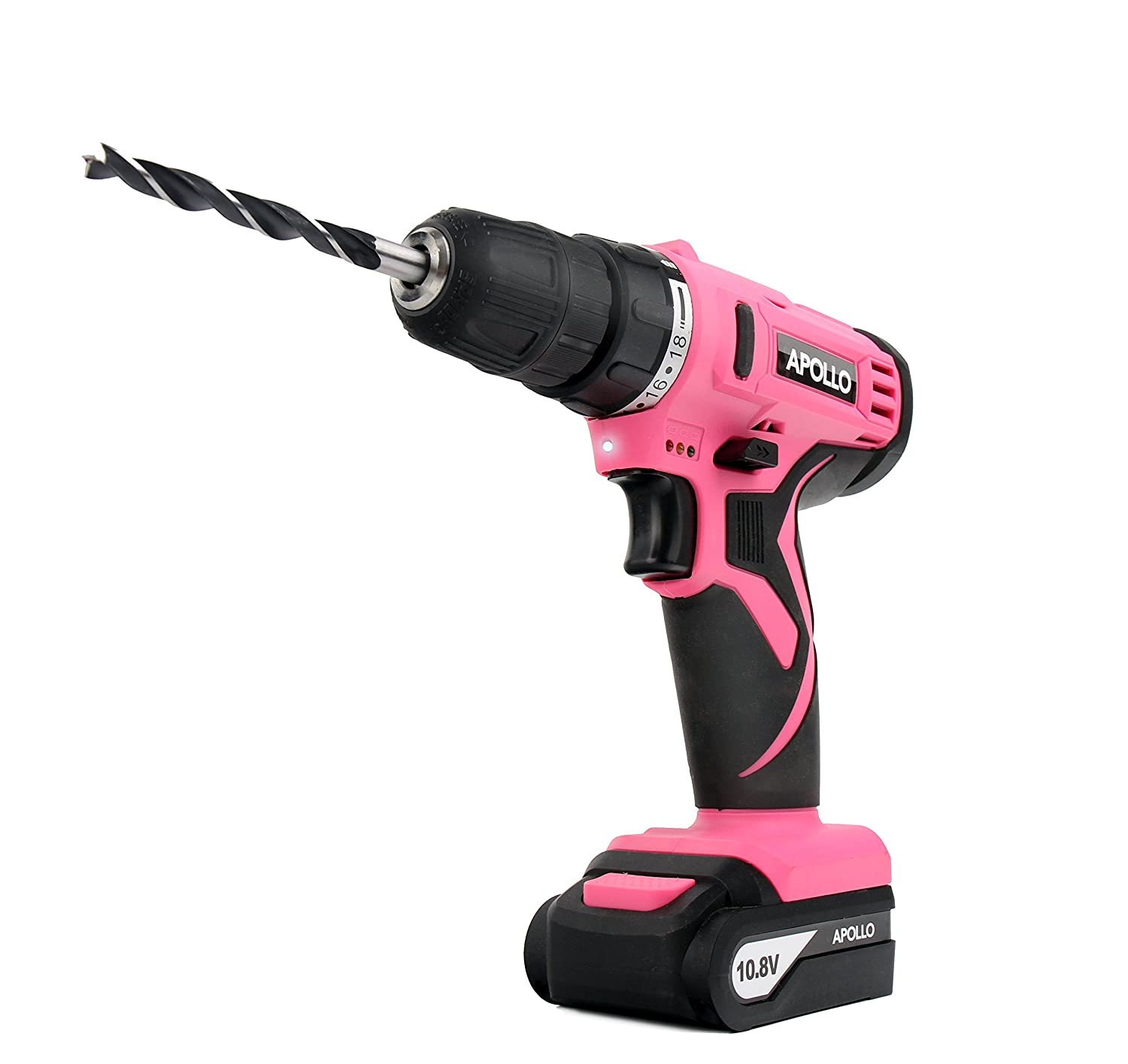 Apollo Tools DT4937P Powerful 10.8 V Lithium-Ion Cordless Drill with 30 Piece Drill Bit Set Pink Ribbon