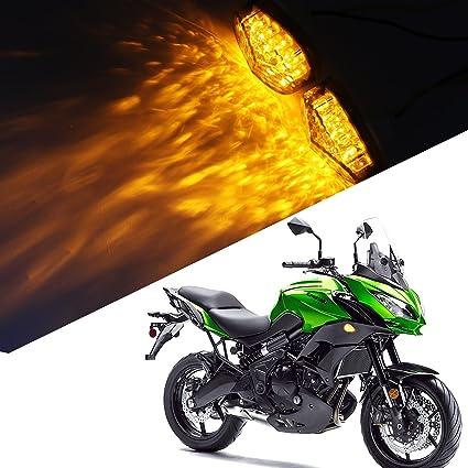 2Pcs Universal Smoke Flush Mount LED Turn Signal Light Indicator Lamp for Kawasaki Ninja 98-06 ZX6R 636 96-03 ZX7R 98-03 ZX9R 04-05 ZX10R 00-05 ZX12R ...