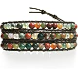 "BLUEYES COLLECTION ""Hot"" Mix Color India Agate Stainless Steel Snap Button Lock Genuine Leather Bracelet"