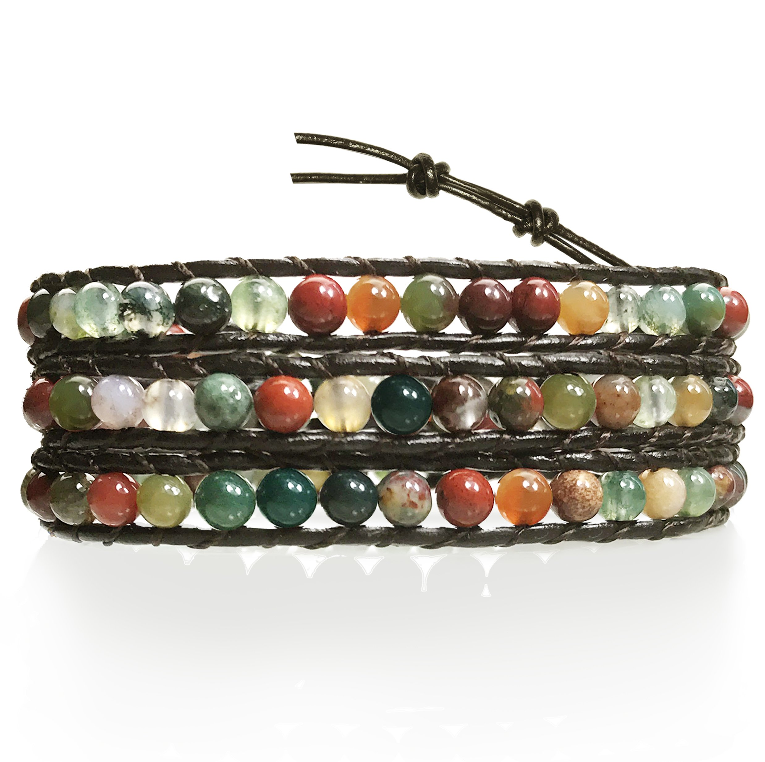 BLUEYES COLLECTION ''Hot'' Mix Color India Agate Stainless Steel Snap Button Lock Genuine Leather Bracelet