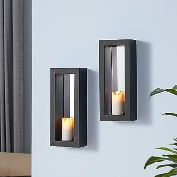 Danya B  Set of 2 Vertical Mirror Pillar Candle Sconces with Metal Frame. Amazon com  Danya B  Set of 2 Vertical Mirror Pillar Candle