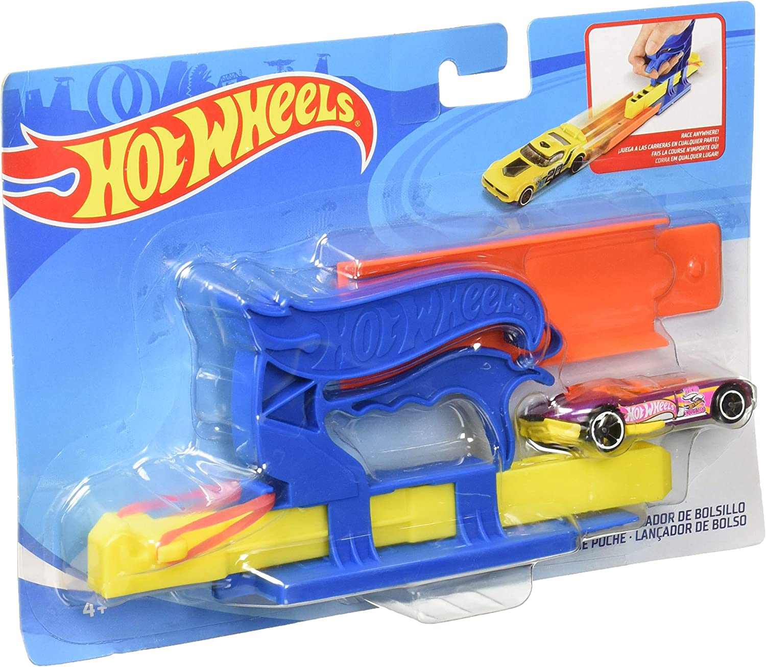 Hot Wheels FVM09 Pocket Launcher Playset with Car, Multicoloured