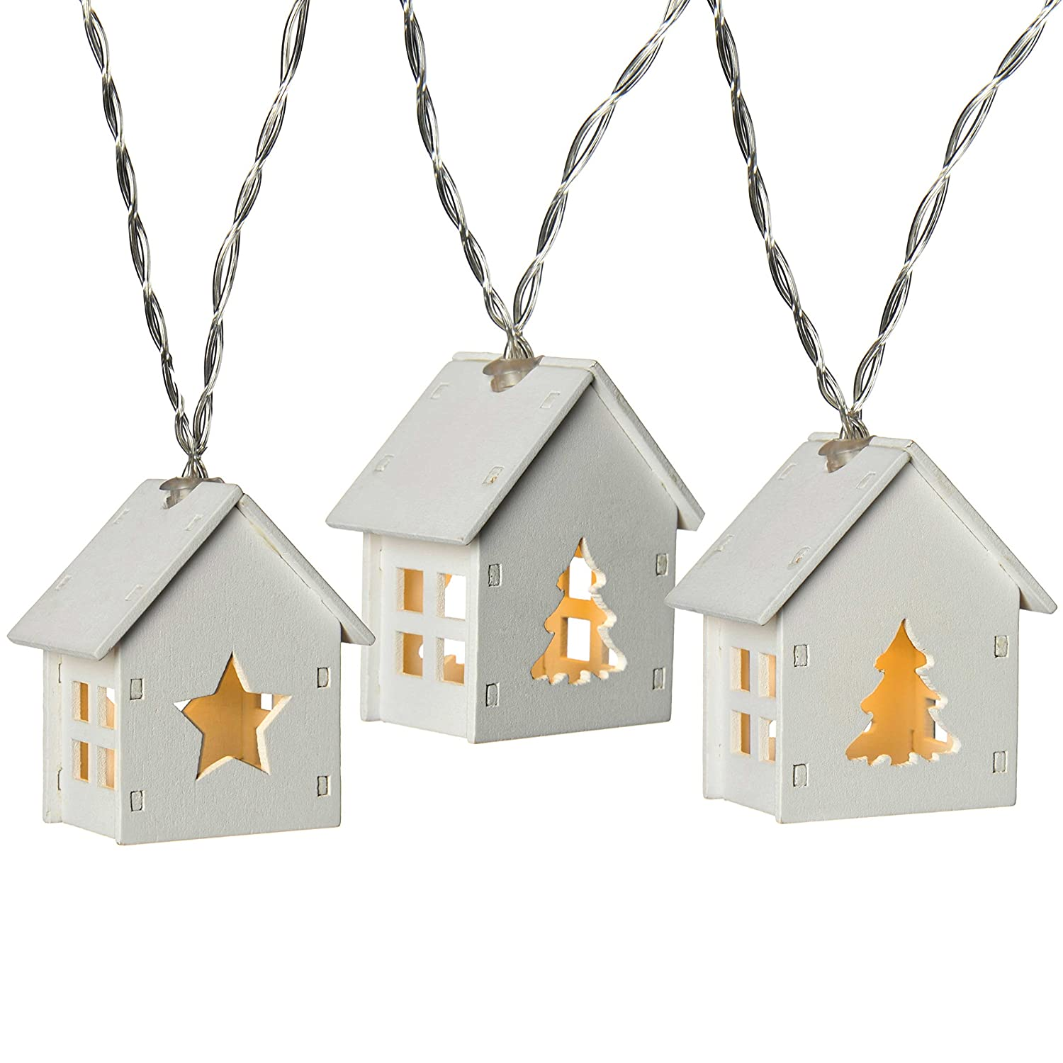 WeRChristmas Reindeer Wooden House Light String with 10-LED - Red WRC-7476