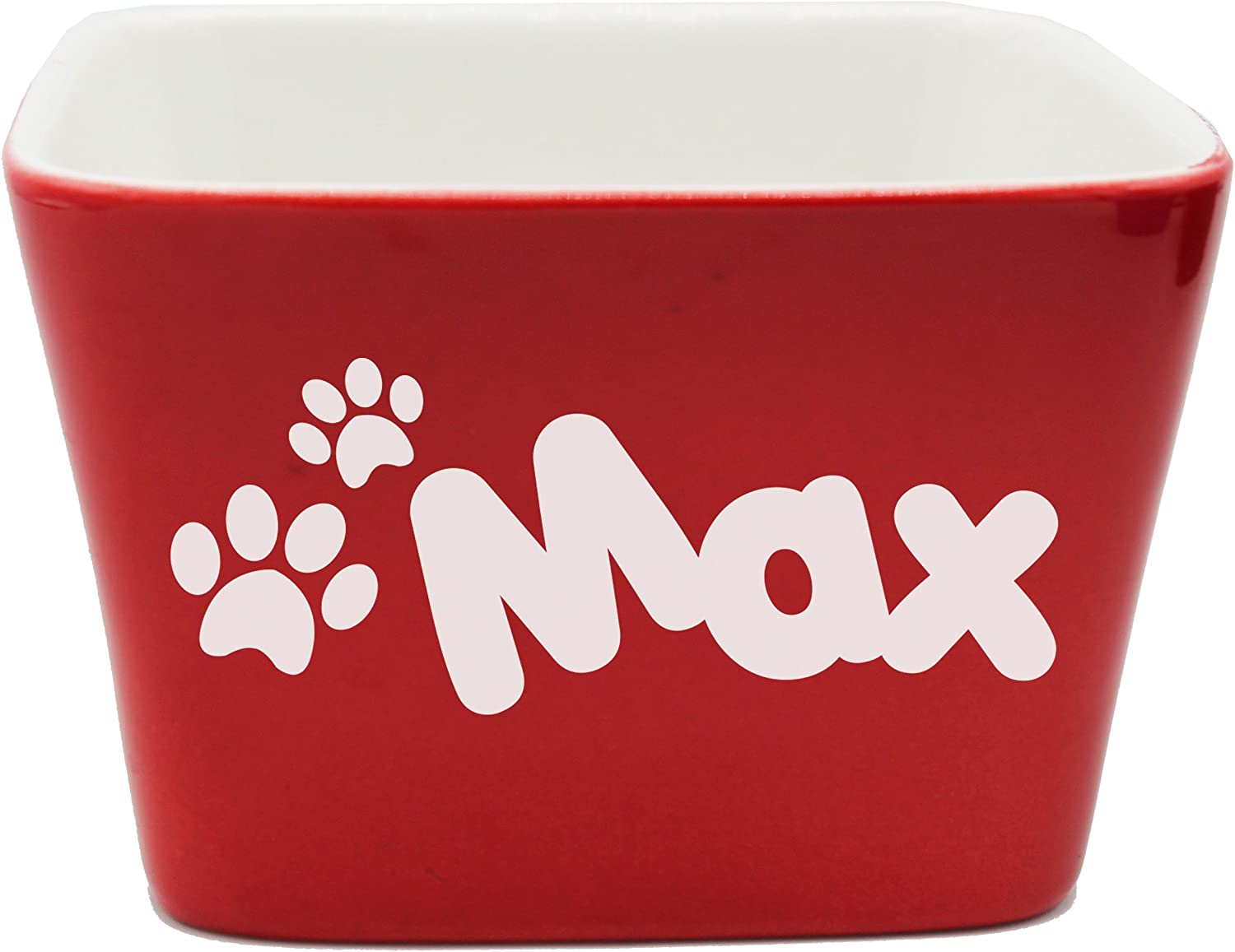 Custom Personalized Pet Bowl Gift - Engraved Dog and Cat Bowls - Monogrammed Ceramic Dish (Small - 4