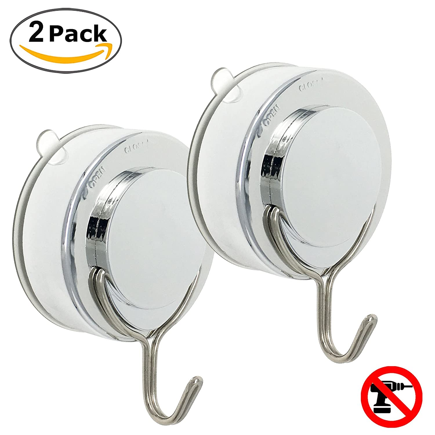 Super Powerful Vacuum Suction Cup Hook Holder - Organizer for Towel, Bathrobe and Loofah,Chrome fibound