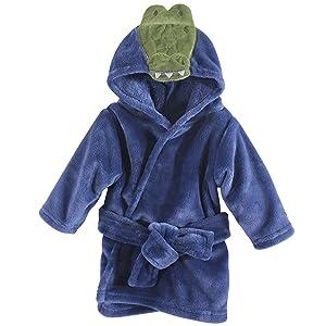 Hudson Baby Unisex Baby Plush Animal Face Robe, Alligator, One Size, 0-9 Months