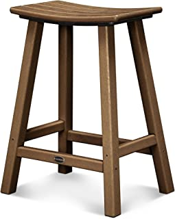 product image for POLYWOOD 2001-TE Traditional Counter Height Saddle Seat Barstool, Teak