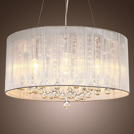 Lámpara KJLARS moderna lámpara de techo lámpara de techo lámpara de araña que cuelga cilíndrica de suspensión con pantalla de tela fuente de ...