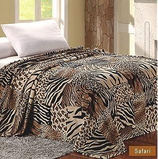 amazon com plazatex microplush leopard print blanket 102 x86 fits