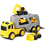 JOYIN 5 Pcs Beach Sand Car Toy Playset with 1 Carrier Truck and 4 Construction Cars, Educational Toy Vehicle for Kids…
