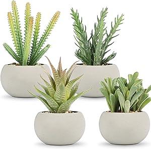 WUKOKU 4 PCS Fake Plants Mini Faux Plants Artificial Succulent Plants in Pots for Office Home Farmhouse Bookshelf Bedroom Bathroom Room Decor