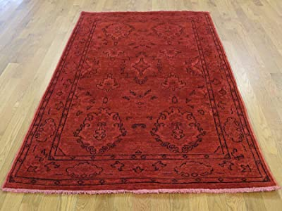 "4'3"" x6'4 Hand Knotted Red Cast Peshawar Overdyed Pure Wool Oriental Rug G35442"