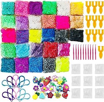 Allazone 14260 Pz Caja Pulseras Gomas, Loom Bands Bandas de Silicona para Hacer Pulseras De Colores Loom Kit para Pulseras: Amazon.es: Juguetes y juegos