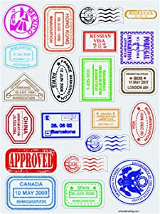 Passport Stamp Sticker Sheets (480 Stickers) Arts & Crafts for Kids, Home Activities
