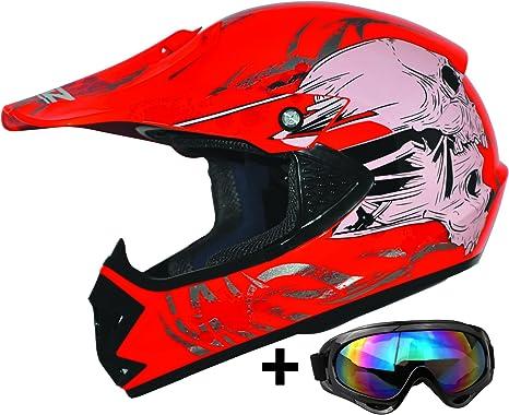 ATO Moto Kids Pro Kinderhelm in Gr/ün inklusive MX Motorrad Brille pocket bike